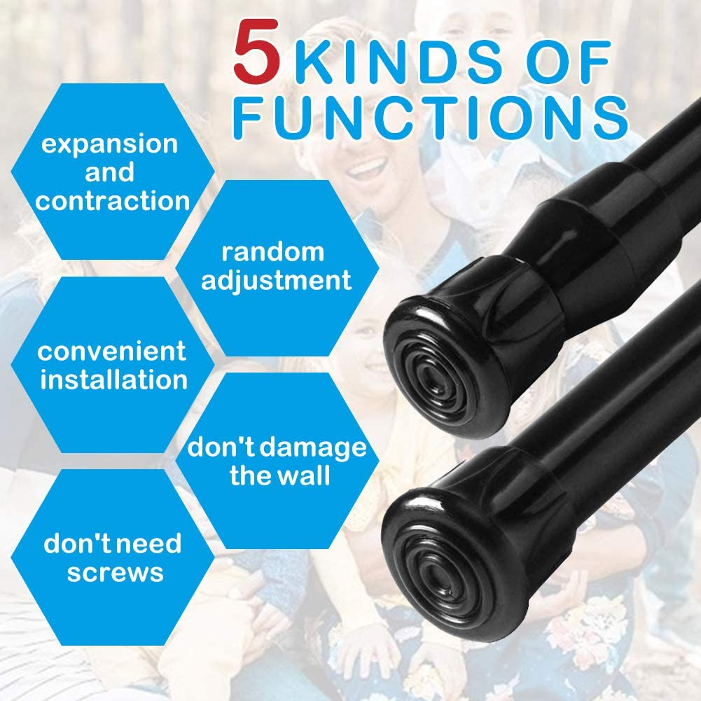 AIZESI 2 Pack Tension Rods 28 to 48 Inches Adjustable Curtin rods Spring Tension Rod Extension Rods Black Tension Curtain Rods Spring Rod for Kitchen Cupboard Windows