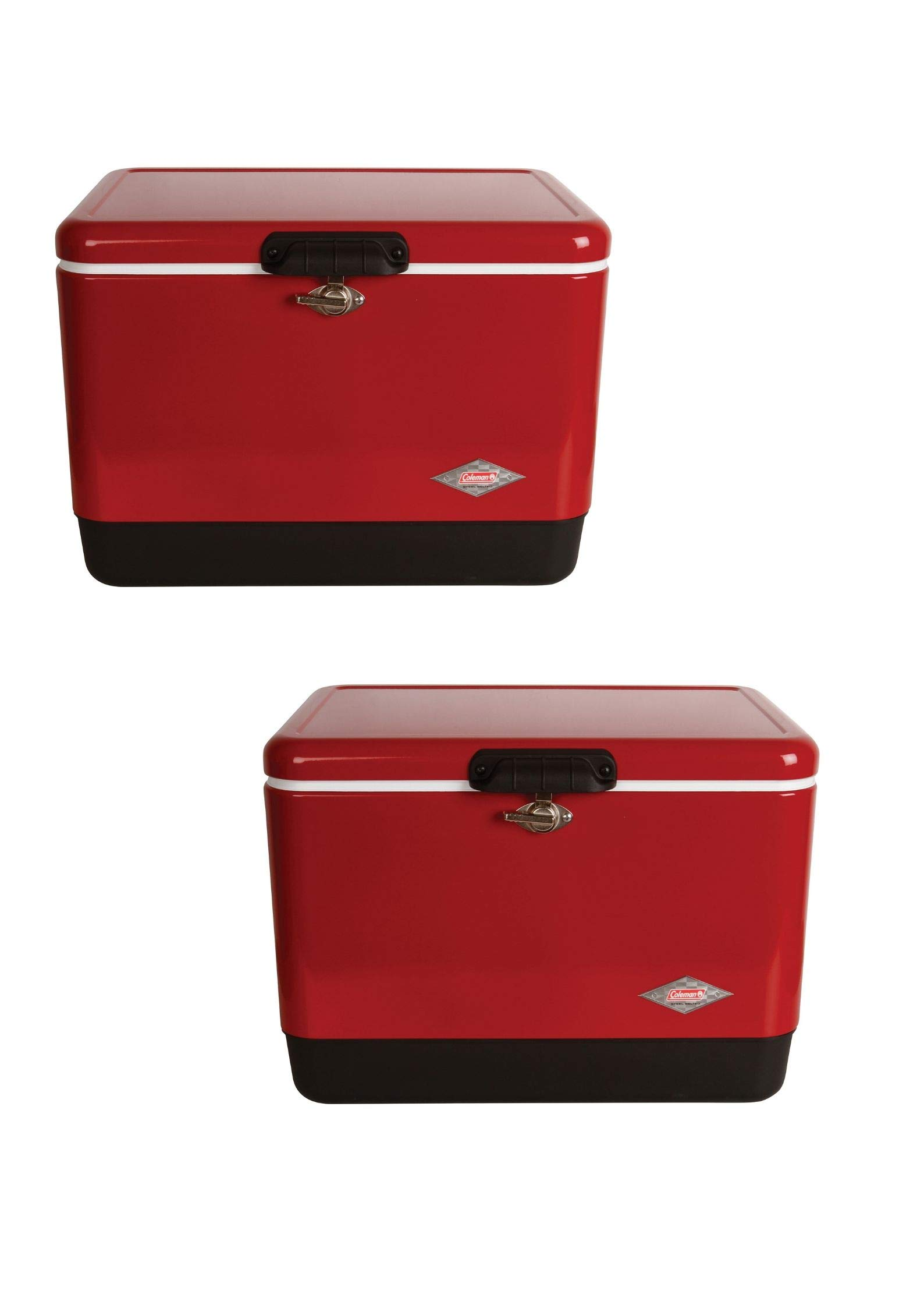 Coleman Steel-Belted Portable 54 Quart Cooler - Red (2 Pack,Red)