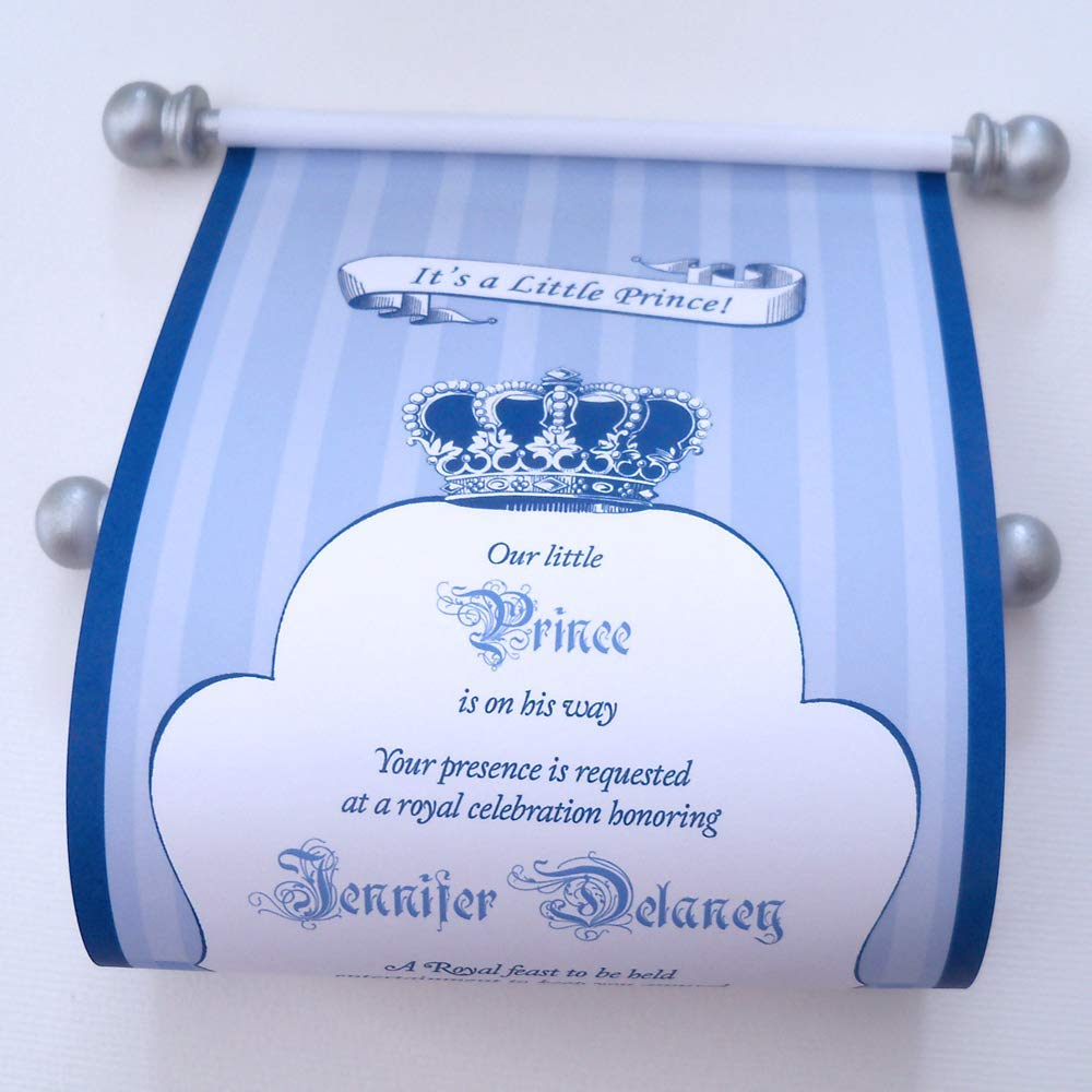 Amazon Royal Prince Baby Shower Invitation Scrolls Blue And