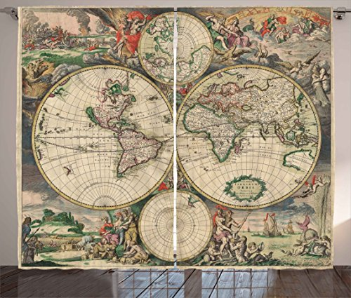 Ambesonne Vintage Curtains, Ancient Antique Old Aged Map of the World Historical Geography Theme Retro Design, Living Room Bedroom Window Drapes 2 Panel Set, 108W X 84L Inches, Multicolor ()