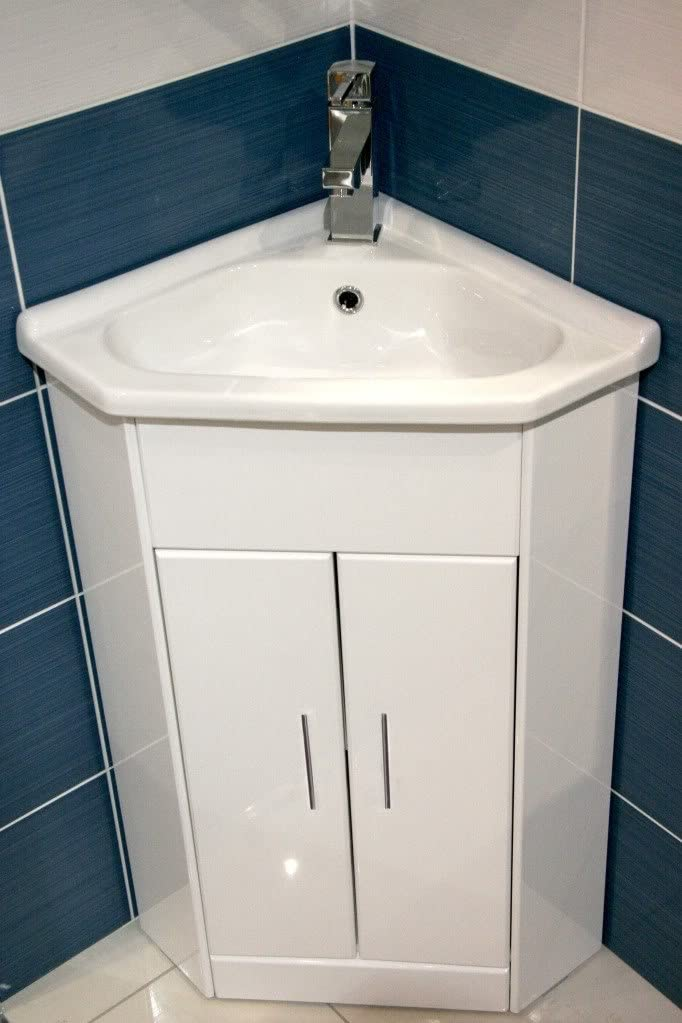 White Compact Corner Vanity Unit Bathroom Furniture Sink Cabinet Ceramic 570 X 400 York Square Mini Basin Tap Click Click Waste Amazon De Küche Haushalt