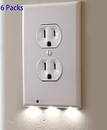 6 pack outlet wall plate with led night lights no batteries or 6 pack outlet wall plate with led night lights no batteries or wires installs aloadofball Image collections