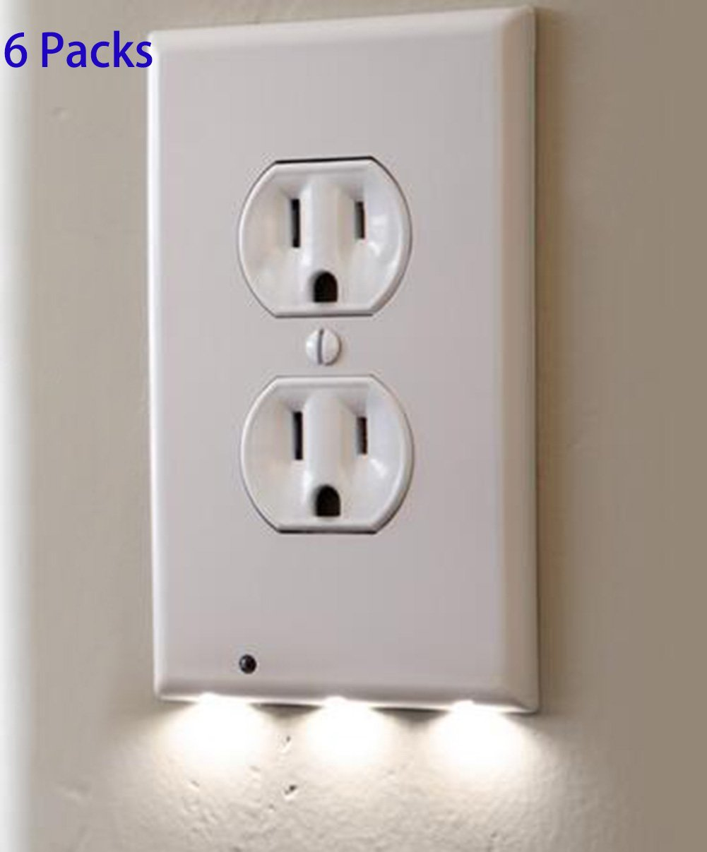 6 Pack Outlet Wall Plate With LED Night Lights - No Batteries Or Wires - Installs In Seconds - (Duplex, White) (6 Pack)