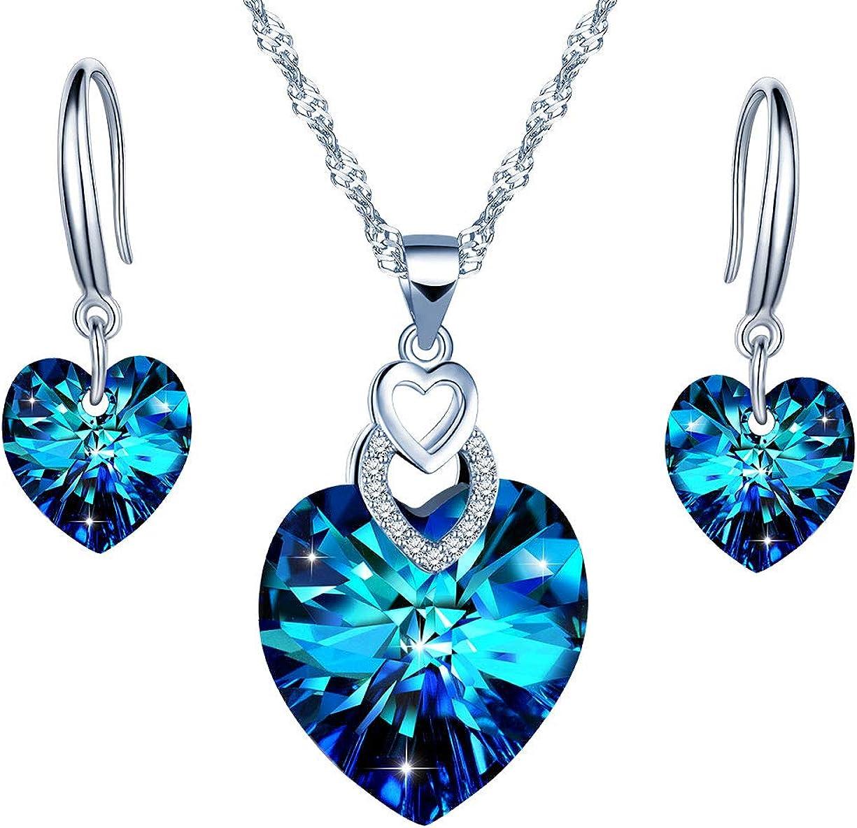 Collar y pendientes de plata esterlina 925 para mujer, collar de corazón de cristal azul, arete de cristal, juegos de joyas, regalo de cumpleaños de Navidad