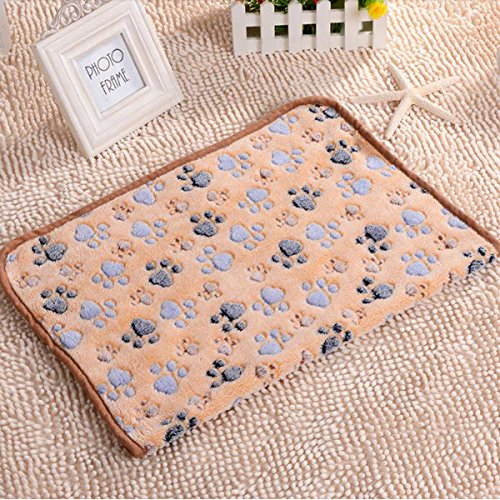 Shop24Hrs Pet Paw Print Dog Puppy Cat Soft Fleece Blanket Bed Mat Winter Size S Camel Color (Cab Lights For Chevy 2500hd)