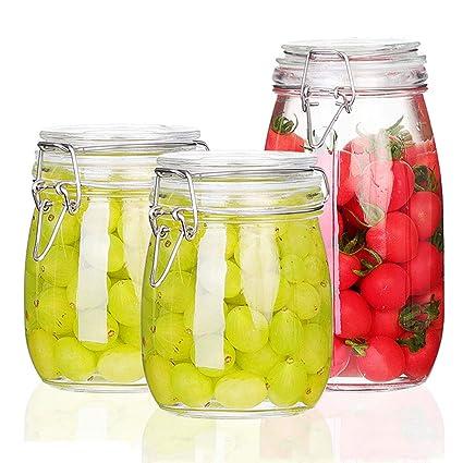 Tarro Almacenamiento Botellas de Vidrio Selladas 3 Piezas atasco de Alimentos con Hebilla Transparente té Granos