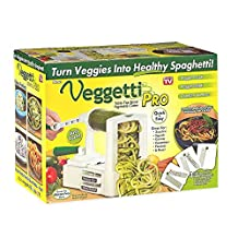 Veggetti Pro Veggetable Spiralizer, Multi Purpose Kitchen Tool, Counter Top Spiral Slicer