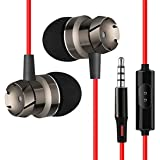 pTron HBE6 Headphone Metal High Bass Earphone in-Ear Wired Headset with Mic for All Smartphones (Red & Black)