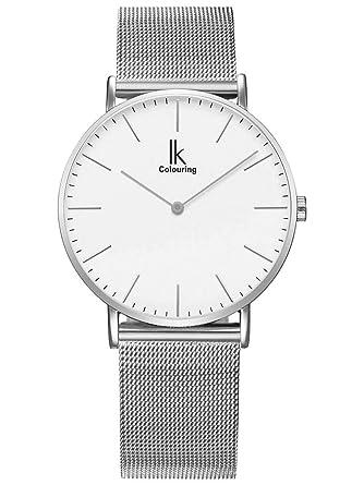 Armbanduhr damen silber  Alienwork IK Quarz Armbanduhr Ultra-flach Uhr Damen Uhren Herren ...