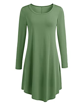 Bbonlinedress Damen locker und komfortabel Langarm Casual lose T-Shirt Kleid  Army Green M