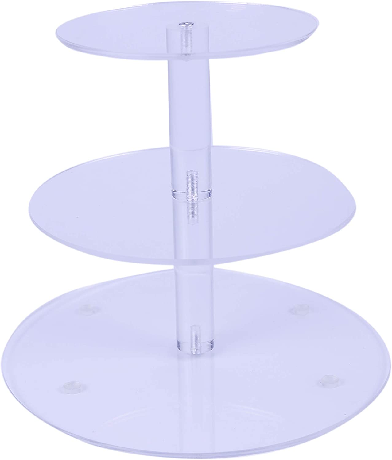 HMROVOOM Round Acrylic Cupcake Stand,Cupcake Tier Stands,Cupcake Holder Rack for Wedding Party Birthday 3 Tier Round(6