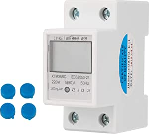 Heaveant KWh Meter 220V 5(80) A Digital 1-Phase 2 Wire 2P DIN-Rail Electric Meter Electronic KWh Meter