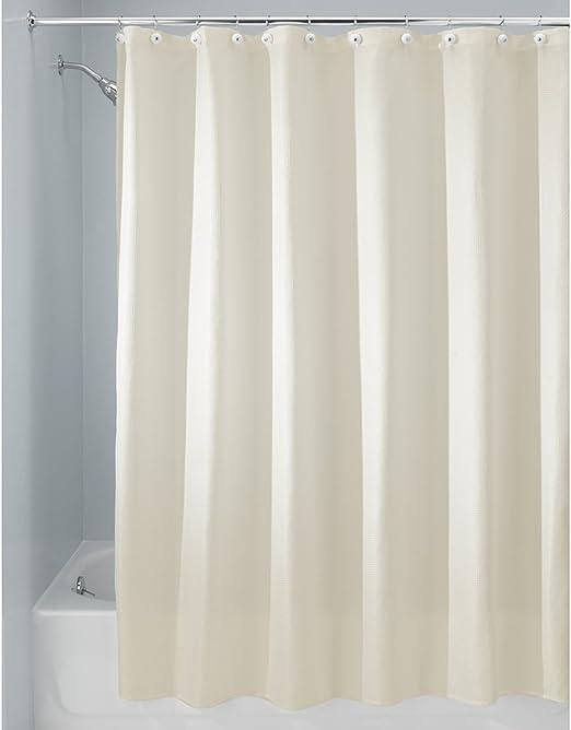 InterDesign Fabric Shower Curtain Modern Mildew Resistant Bath Liner 72x96 Inch
