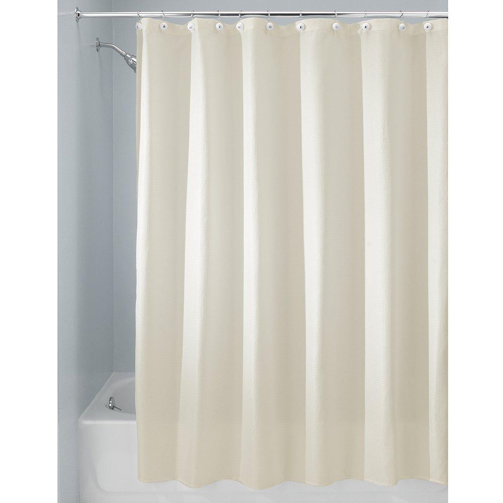 Natural 23081 72 x 96 InterDesign Carlton Fabric  Shower Curtain X-Long