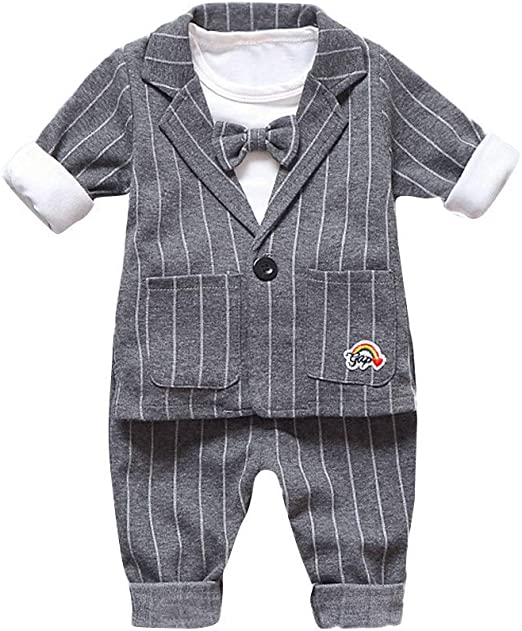 Jean Pantalon Set KIDS Vêtements Tenues 3Pcs Bébé Garçons Robe manteau Chemise
