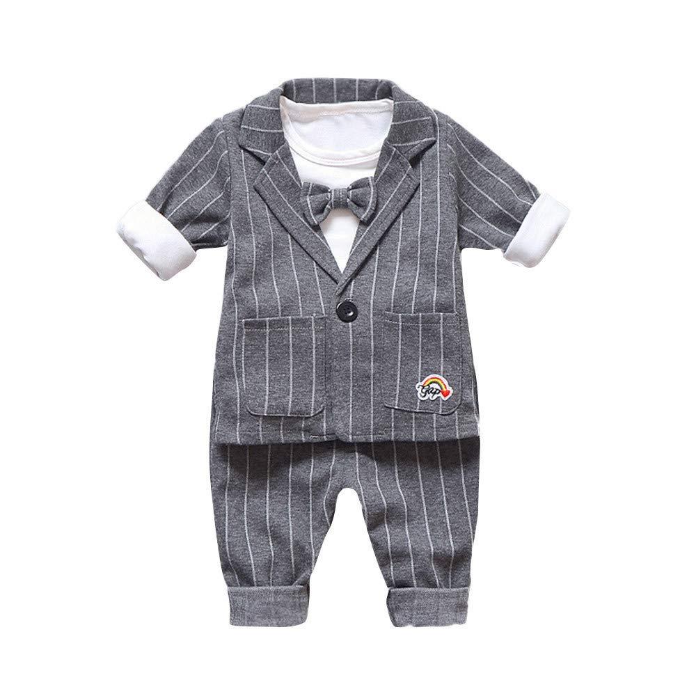 Vovotrade Children Outfits Set Kids Boys Long Sleeve Jacket Coat + Shirt +Stripe Pants(Gray,100)