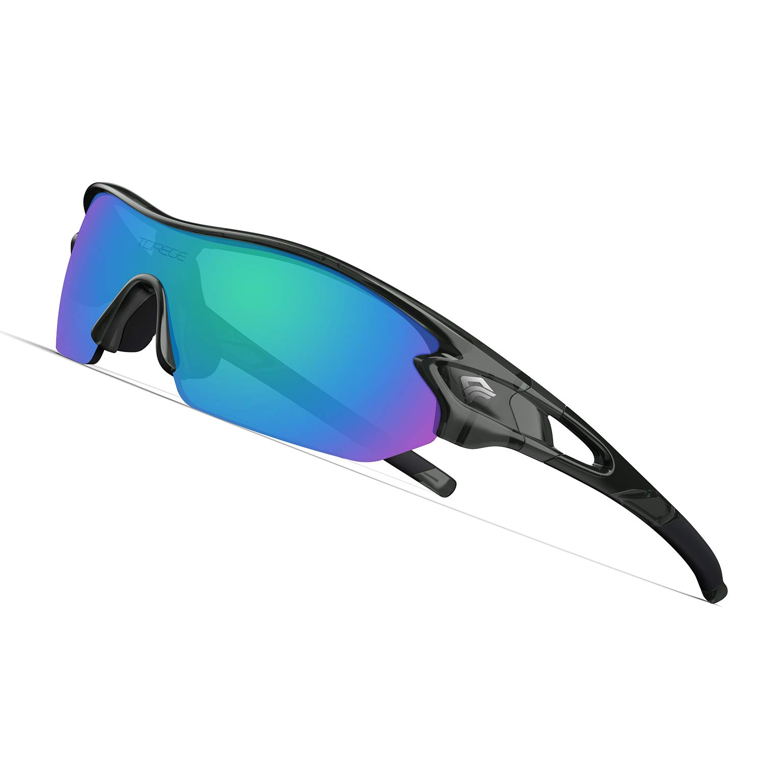 TOREGE Polarized Sports Sunglasses with 3 Interchangeable Lenes for Men Women Cycling Running Driving Fishing Golf Baseball Glasses TR002 (Transparent Gray&Green Lens) by TOREGE
