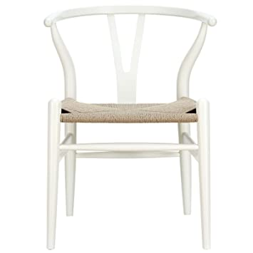 Amazoncom LexMod C24 Wishbone Chair in White Chairs