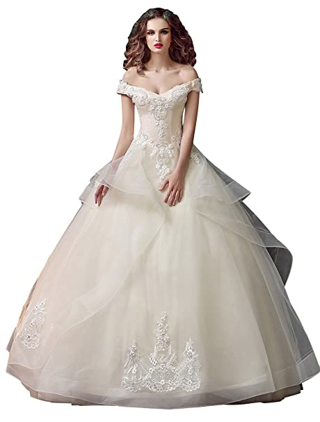 Beauty-Emily Lace Organza Off The Shoulder Ball Wedding Dress at ...
