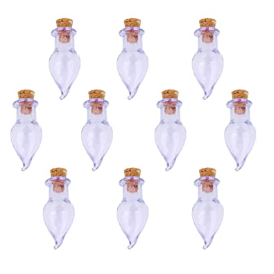 10pcs Vidrio Frascos Botellas De Corcho Chile Frasco Que Desea Botella Colgante Bricolaje Purpura