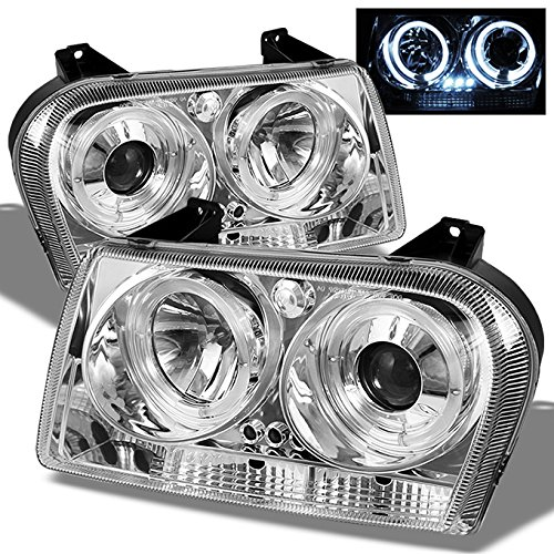 For Chrysler 300 Sedan Halogen Type Chrome Clear Dual Halo Rings Design Projector Headlights Lamps Pair
