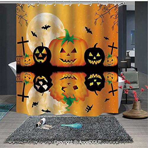 AngelDOU Halloween Decorations Waterproof 3D Printed Shower Curtain Spooky Carved Halloween Pumpkin Full Moon with Bats and Grave Lake for Home Bathroom Decoration ()