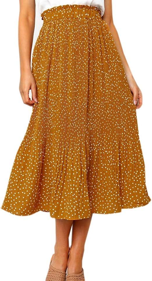Shenye - Falda Larga para Mujer, diseño de Lunares, a la Moda ...