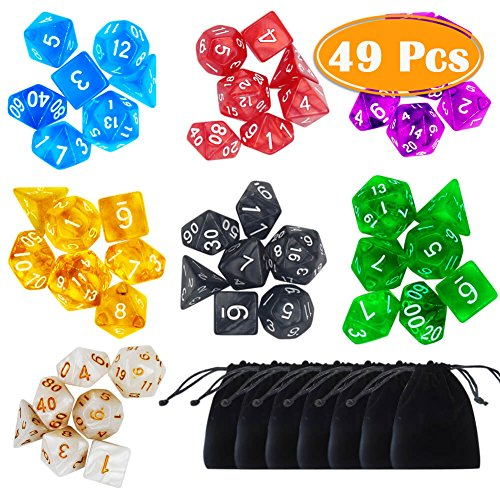PAXCOO 7 x 7 (49 Pieces) Polyhedral Dice with Pouches for Dungeons and Dragons DND RPG MTG D20 D12 D10 D8 D4]()