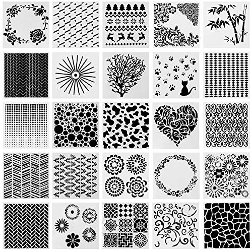 SOTOGO 25 Pcs Pattern Square Shape Journal Stencil Plastic Planner Stencils Journal/Notebook/Diary/Scrapbook DIY Drawing Template Stencil
