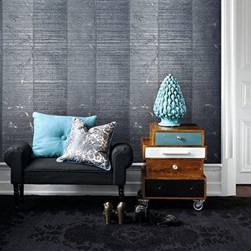 Navy Stripe Wallpaper - 76 sq.ft Rolls Portofino Italian wallcoverings Modern Embossed Vinyl Non-Woven Luxury Unique Wallpaper Gray Navy Blue Metallic Stripes Textured Striped Metal Pattern Lines coverings Wall 3D Geometric
