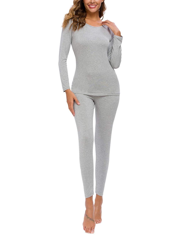 AMONIDA Womens Thermal Underwear Long Jonhs Set with Fleece Lined Thermal S-XXL