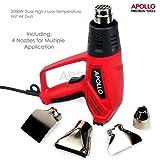 Apollo 2000W Dual High Low Temperature Heat Gun & 4 Piece Nozzle Set ( Reflector Nozzle, Cone Nozzle, Fishtail Nozzle, Glass Protector Nozzle )