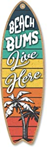 Honey Dew Gifts Beach Bums Live Here, 5 inch by 16 inch Surfboard, Wood Sign, Tiki Bar Decoration, Beach Themed Decor, Decorative Wall Sign, Home Decor
