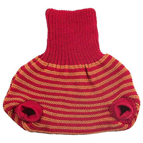 Pull on Diaper Cover for Baby Boys and Girls, 100% Organic Merino Wool Double Knit (50-56cm/0-3 months, Red/Orange Stripes) -
