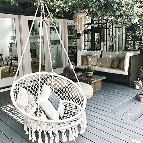 Finebaby Handmade Knitted Swing Baby Room Decoration Furniture Hanging Chair for Reading/Leisure