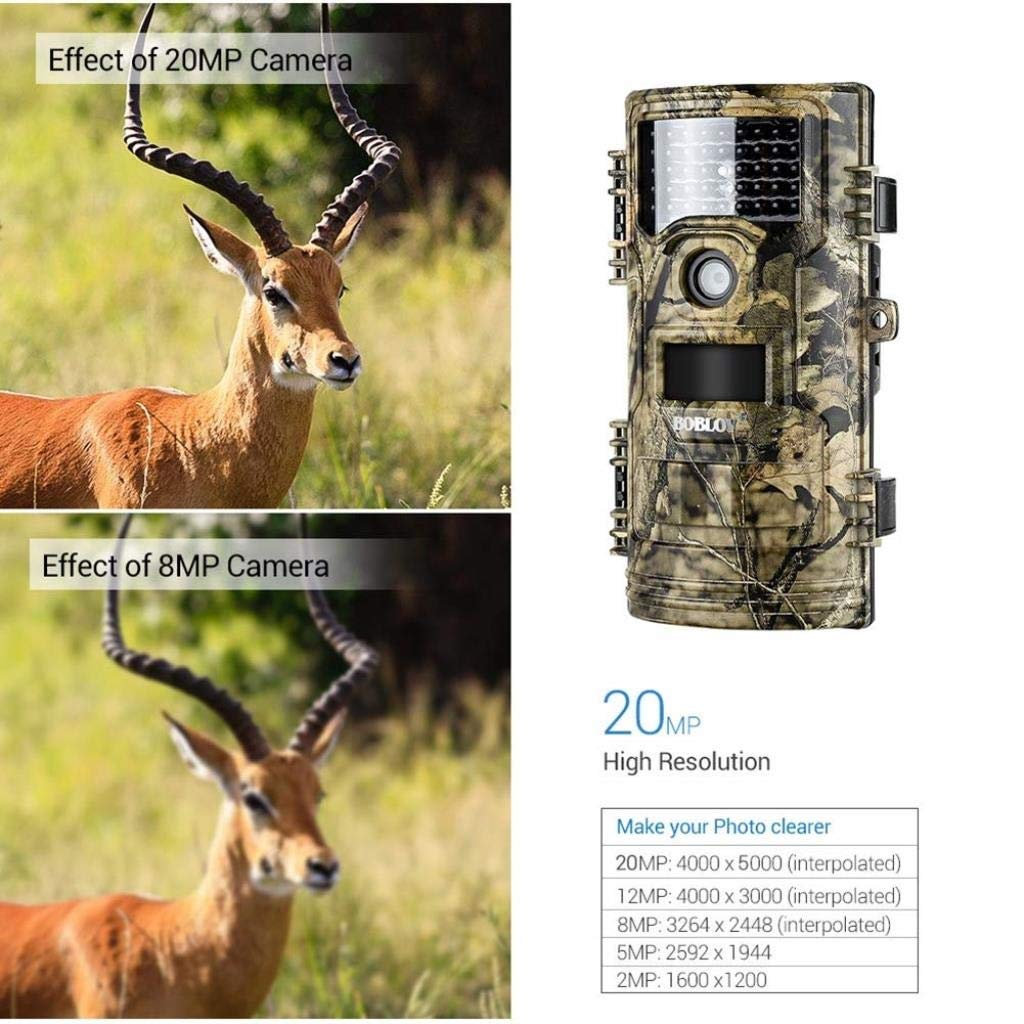 ZKKZ Wildlife C/ámara de Trail FHD 1080P 20MP C/ámara de Caza Control Remoto Visi/ón Nocturna Detecci/ón de Movimiento Ultra Long Standby IP54 Impermeable