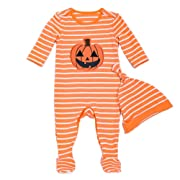 Beide Toddler Baby Girls Boys Halloween Pumpkin Footies 2 Piece Pajamas Set(boy,0-3m)
