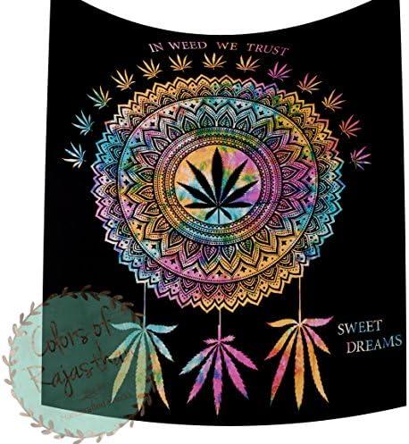 COR s In Weed We Trust Dream Catcher Queen Cannabis Tapestry Marijuana Weed Leaf Tapestries Hippie Black Multi Dye Mandala Leaf Wall Hanging Gypsy Weed Catcher Wall Decor 92 x 82 Inch Multi Dye