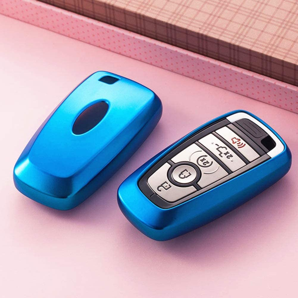 Blue Mofei for Ford Key Fob Cover Shell Case TPU Protector Holder with Key Chain Compatible with Ford Fusion F150 F250 F350 F450 F550 Edge Explorer Escape Mustang Remote Keyless Entry