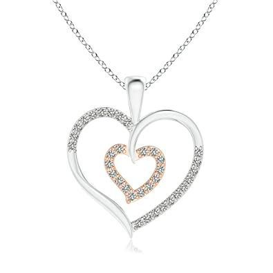 Angara Twin Heart Diamond Pendant in Two Tone Gold Azr3f3r