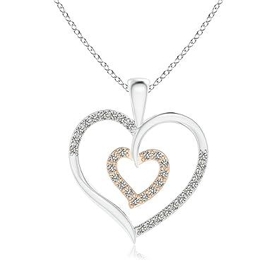 Angara Twin Heart Diamond Pendant in Two Tone Gold iWarD