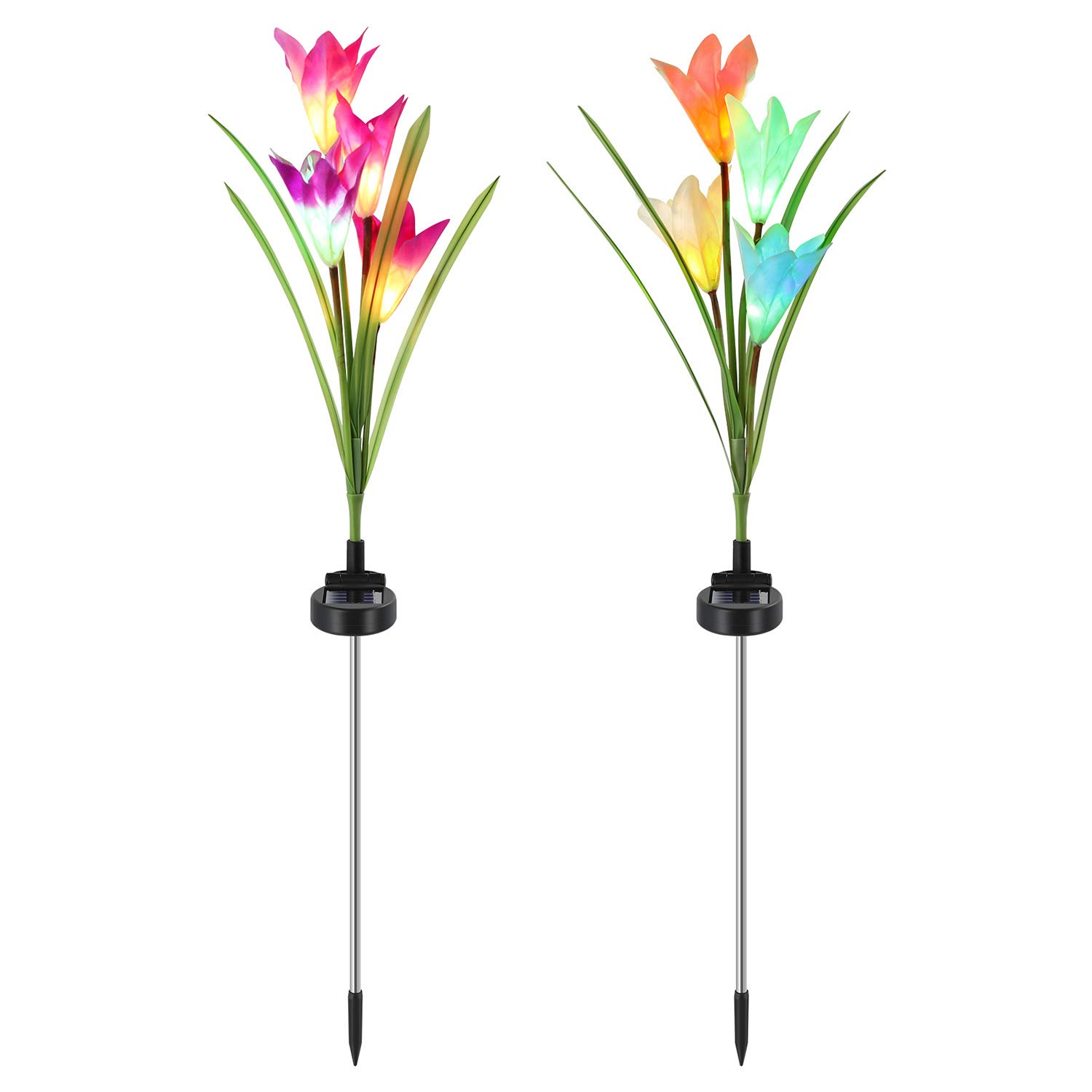 Benuo Solar Garden Lily Stake Light Outdoor Solar Powered Lily Light Multi-Color Changing Auto ON/Off 7 Color Auto Changing Decorative Flower Garden Light Elegant Lily for Garden Lawn Patio Backyard