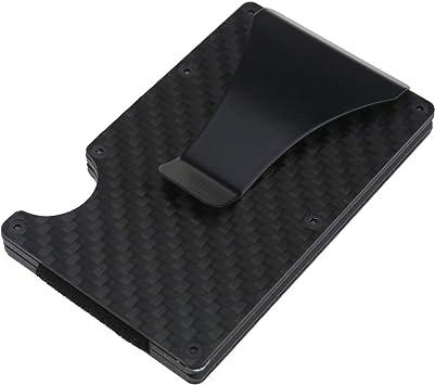1 x fibra de carbono Tarjetas de Crédito Funda Dinero Clip Tarjeta de Crédito Funda Estuche para tarjeta de visita portatarjetas de visita RFID negro: Amazon.es: Bricolaje y herramientas