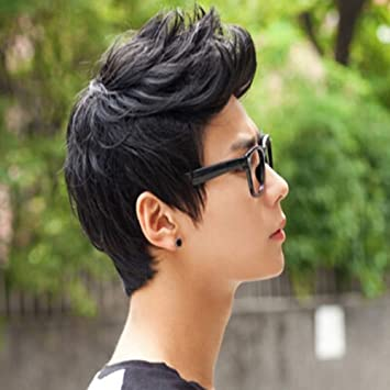 e16c85d18d4 Image Unavailable. Image not available for. Color  E Support trade  Handsome  Boys Black Short Wig New Vogue Sexy Korean Men s Male Hair Cosplay