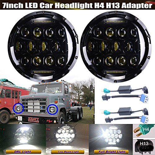 (7 Inch Round Sealed Beam LED Headlights For International Harvester 4400/4300 / 4200, Super Bright All-In-One High Beam/Low Beam/DRL H6024 Conversion Kit)