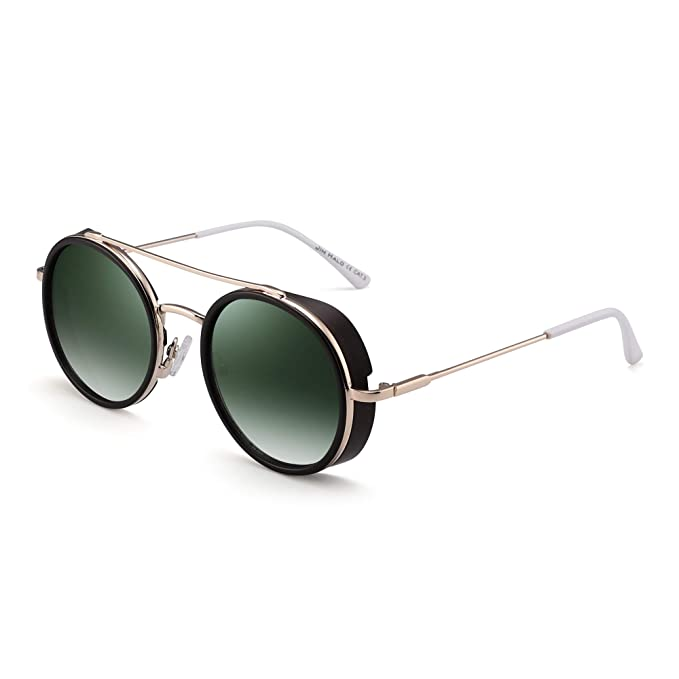 JIM HALO Retro Round Steampunk Sunglasses for Women Men Circle Lens Metal Frame