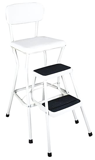 Cosco White Retro Counter Chair / Step Stool With Pull Out Steps, White