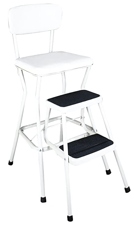 Cosco White Retro Counter Chair/Step Stool With Pull Out Steps, White