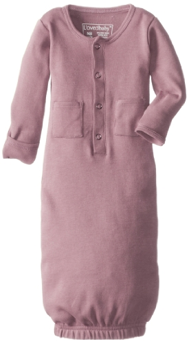 L'ovedbaby Unisex-Baby Organic Cotton Gown, Mauve, 0/3 Months ()