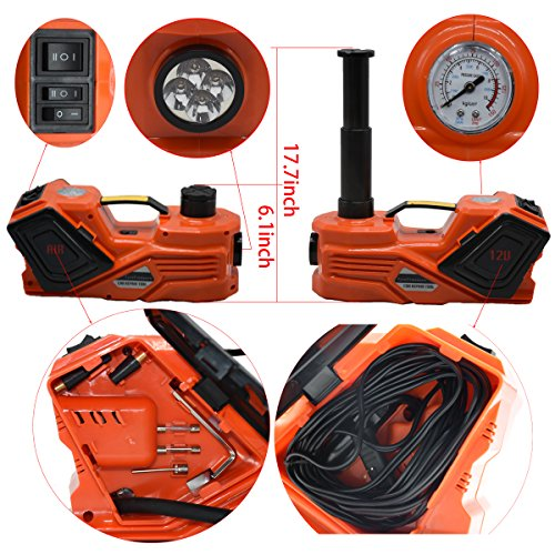 MarchInn 12V DC 3.0T(6600lb) Electric Hydraulic Floor Jack and Tire Inflator Pump and LED Flashlight 3 in 1 Set with Electric Impact Wrench Car Repair Tool Kit by MarchInn (Image #2)